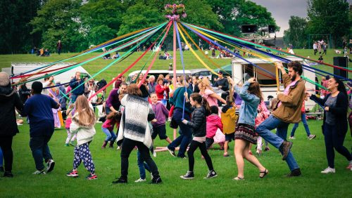 The maypole drew the crowds