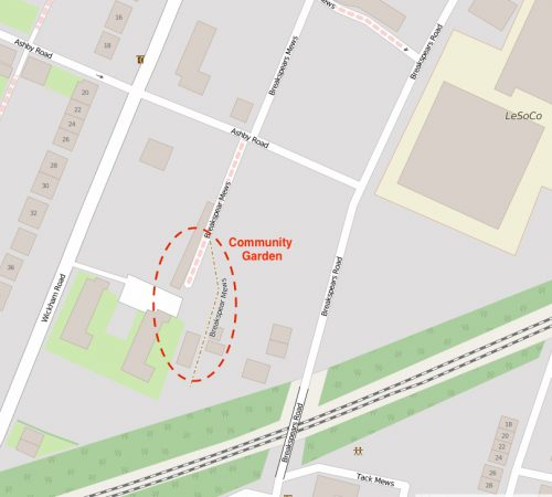 Location of Breakspears Mews Community Garden