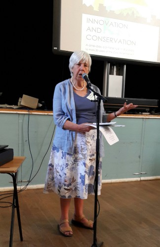 Chair of the Brockley Society Clare Cowen introduces the day's schedule
