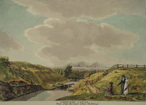 Locks on the Croydon Canal, looking NW towards central London (St Pauls just visible)