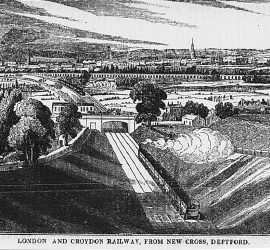 """""""London and Croydon Railway, From New Cross, Deptford"""". Engraving looking NW towards central London"""